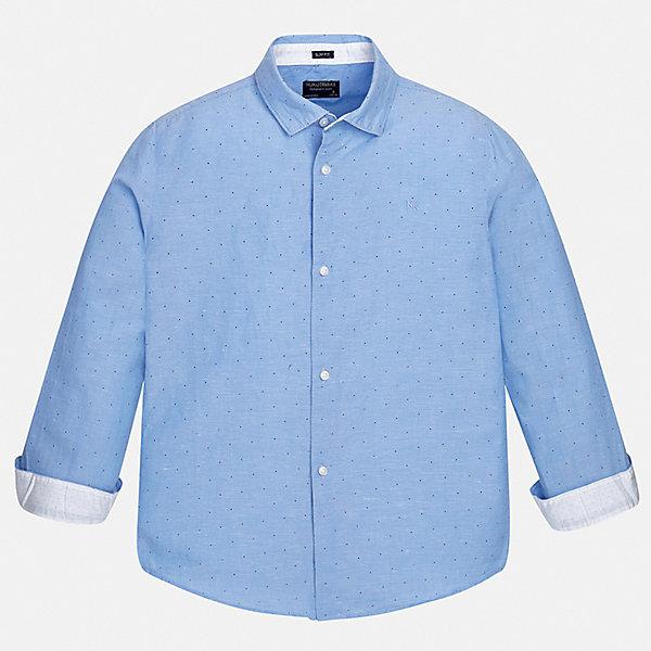 Рубашка Mayoral для мальчикаБлузки и рубашки<br>Характеристики товара:<br><br>• цвет: голубой<br>• состав ткани: 70% хлопок, 30% лен<br>• сезон: демисезон<br>• застежка: пуговицы<br>• длинные рукава<br>• страна бренда: Испания<br>• стиль и качество<br><br>Стильная детская рубашка сделана из дышащего приятного на ощупь материала. Благодаря продуманному крою детской рубашки создаются комфортные условия для тела. Рубашка с длинным рукавом для мальчика отличается лаконичным продуманным дизайном.<br><br>Рубашку Mayoral (Майорал) для мальчика можно купить в нашем интернет-магазине.<br>Ширина мм: 174; Глубина мм: 10; Высота мм: 169; Вес г: 157; Цвет: разноцветный; Возраст от месяцев: 96; Возраст до месяцев: 108; Пол: Мужской; Возраст: Детский; Размер: 128/134,170,164,158,152,140; SKU: 7537719;