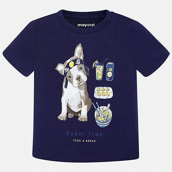 Футболка Mayoral для мальчикаФутболки, поло и топы<br>Характеристики товара:<br><br>• цвет: синий<br>• состав ткани: 100% хлопок<br>• сезон: лето<br>• короткие рукава<br>• страна бренда: Испания<br>• стиль и качество<br><br>Удобная детская футболка с коротким рукавом декорирована стильным принтом. Благодаря продуманному крою детской футболки создаются комфортные условия для тела. Эта футболка для мальчика отличается модным дизайном. <br><br>Футболку Mayoral (Майорал) для мальчика можно купить в нашем интернет-магазине.<br>Ширина мм: 199; Глубина мм: 10; Высота мм: 161; Вес г: 151; Цвет: синий; Возраст от месяцев: 12; Возраст до месяцев: 15; Пол: Мужской; Возраст: Детский; Размер: 80,74,98,92,86; SKU: 7537846;