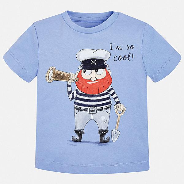 Футболка Mayoral для мальчикаФутболки, поло и топы<br>Характеристики товара:<br><br>• цвет: синий<br>• состав ткани: 100% хлопок<br>• сезон: лето<br>• короткие рукава<br>• страна бренда: Испания<br>• стиль и качество<br><br>Качественная детская футболка с коротким рукавом от Mayoral декорирована стильным принтом. Благодаря продуманному крою детской футболки создаются комфортные условия для тела. Эта футболка для мальчика отличается модным дизайном. <br><br>Футболку Mayoral (Майорал) для мальчика можно купить в нашем интернет-магазине.<br>Ширина мм: 199; Глубина мм: 10; Высота мм: 161; Вес г: 151; Цвет: синий; Возраст от месяцев: 6; Возраст до месяцев: 9; Пол: Мужской; Возраст: Детский; Размер: 74,98,92,86,80; SKU: 7537881;