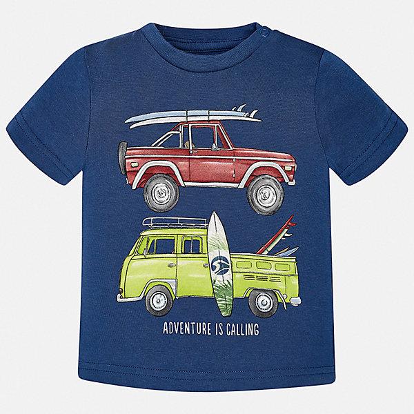 Футболка Mayoral для мальчикаФутболки, поло и топы<br>Характеристики товара:<br><br>• цвет: синий<br>• состав ткани: 100% хлопок<br>• сезон: лето<br>• короткие рукава<br>• страна бренда: Испания<br>• стиль и качество<br><br>Такая детская футболка отличается качественным материалом, а также стильным и продуманным дизайном. В футболке для мальчика от испанской компании Майорал ребенок будет выглядеть модно, а чувствовать себя - удобно. Трикотажная футболка с принтом для мальчика от Майорал поможет обеспечить ребенку комфорт. <br><br>Футболку Mayoral (Майорал) для мальчика можно купить в нашем интернет-магазине.<br>Ширина мм: 199; Глубина мм: 10; Высота мм: 161; Вес г: 151; Цвет: синий; Возраст от месяцев: 6; Возраст до месяцев: 9; Пол: Мужской; Возраст: Детский; Размер: 74,98,92,86,80; SKU: 7537892;