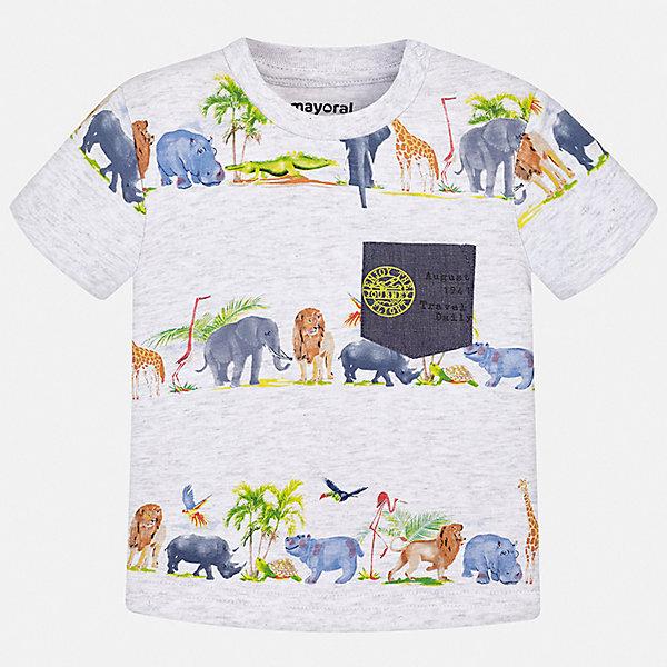 Футболка Mayoral для мальчикаФутболки, поло и топы<br>Характеристики товара:<br><br>• цвет: белый<br>• состав ткани: 100% хлопок<br>• сезон: лето<br>• застежка: кнопки<br>• короткие рукава<br>• страна бренда: Испания<br>• стиль и качество<br><br>Такая детская футболка отличается качественным материалом, а также стильным и продуманным дизайном. В футболке для мальчика от испанской компании Майорал ребенок будет выглядеть модно, а чувствовать себя - удобно. Трикотажная футболка с принтом для мальчика от Майорал поможет обеспечить ребенку комфорт. <br><br>Футболку Mayoral (Майорал) для мальчика можно купить в нашем интернет-магазине.<br>Ширина мм: 199; Глубина мм: 10; Высота мм: 161; Вес г: 151; Цвет: серый; Возраст от месяцев: 6; Возраст до месяцев: 9; Пол: Мужской; Возраст: Детский; Размер: 74,98,92,86,80; SKU: 7537910;