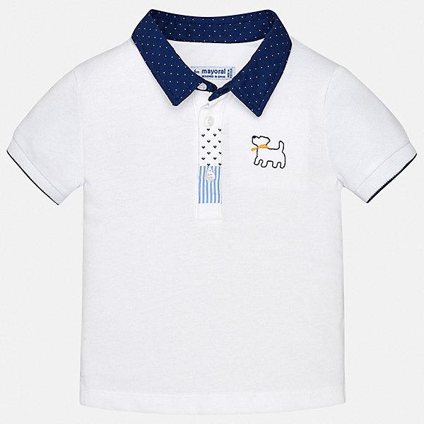Футболка-поло Mayoral для мальчикаФутболки, поло и топы<br>Характеристики товара:<br><br>• цвет: белый<br>• состав ткани: 100% хлопок<br>• сезон: лето<br>• особенности модели: отложной воротник<br>• застежка: пуговицы<br>• короткие рукава<br>• страна бренда: Испания<br>• стиль и качество<br><br>Детская футболка-поло с коротким рукавом отличается стильной отделкой. Классический крой детской футболки-поло делает её универсальной базовой вещью. Такая футболка-поло для мальчика отличается стильным продуманным дизайном.<br><br>Футболку-поло Mayoral (Майорал) для мальчика можно купить в нашем интернет-магазине.<br>Ширина мм: 199; Глубина мм: 10; Высота мм: 161; Вес г: 151; Цвет: белый; Возраст от месяцев: 18; Возраст до месяцев: 24; Пол: Мужской; Возраст: Детский; Размер: 92,74,98,86,80; SKU: 7537977;