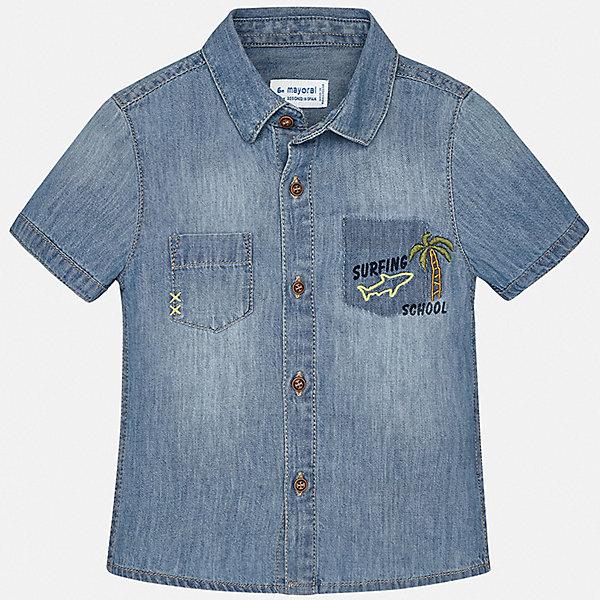 Рубашка Mayoral для мальчикаБлузки и рубашки<br>Характеристики товара:<br><br>• цвет: синий<br>• состав ткани: 100% хлопок<br>• сезон: лето<br>• застежка: пуговицы<br>• короткие рукава<br>• страна бренда: Испания<br>• стиль и качество<br><br>Джинсовая детская рубашка сделана из дышащего приятного на ощупь материала. Благодаря продуманному крою детской рубашки создаются комфортные условия для тела. Рубашка с коротким рукавом для мальчика отличается лаконичным продуманным дизайном.<br><br>Рубашку Mayoral (Майорал) для мальчика можно купить в нашем интернет-магазине.<br>Ширина мм: 174; Глубина мм: 10; Высота мм: 169; Вес г: 157; Цвет: голубой; Возраст от месяцев: 12; Возраст до месяцев: 15; Пол: Мужской; Возраст: Детский; Размер: 80,98,92,86; SKU: 7538094;