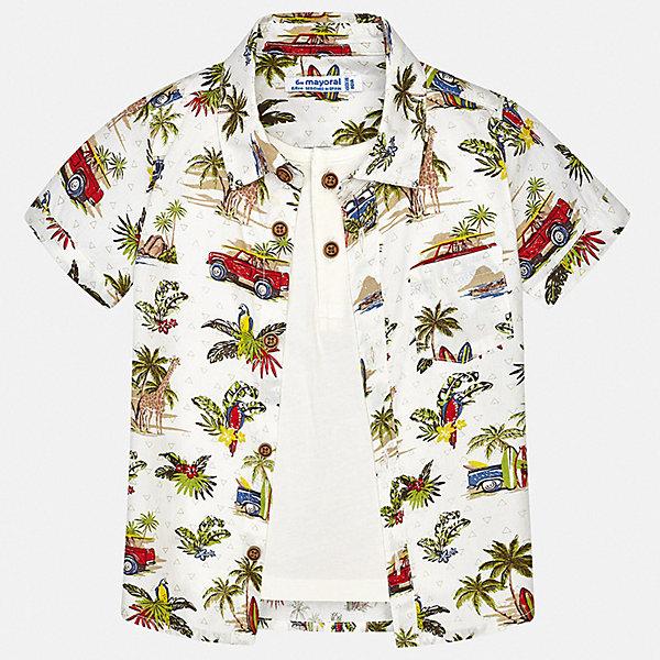 Рубашка Mayoral для мальчикаБлузки и рубашки<br>Характеристики товара:<br><br>• цвет: белый<br>• состав ткани: 100% хлопок<br>• сезон: лето<br>• застежка: пуговицы<br>• короткие рукава<br>• страна бренда: Испания<br>• стиль и качество<br><br>Такая рубашка с коротким рукавом для мальчика Mayoral идеально подходит для лета. Стильная детская рубашка сделана из натуральной хлопковой ткани. Отличный способ обеспечить ребенку комфорт и аккуратный внешний вид - надеть детскую рубашку от Mayoral. Детская рубашка с коротким рукавом сшита из приятного на ощупь материала, который позволяет коже дышать. <br><br>Рубашку Mayoral (Майорал) для мальчика можно купить в нашем интернет-магазине.<br>Ширина мм: 174; Глубина мм: 10; Высота мм: 169; Вес г: 157; Цвет: зеленый; Возраст от месяцев: 6; Возраст до месяцев: 9; Пол: Мужской; Возраст: Детский; Размер: 74,98,92,86,80; SKU: 7538099;