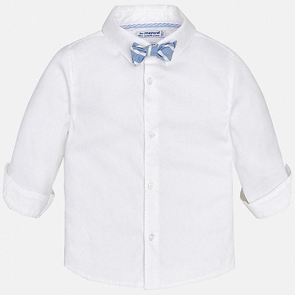 Рубашка Mayoral для мальчикаОдежда<br>Характеристики товара:<br><br>• цвет: белый<br>• комплектация: рубашка и галстук-бабочка<br>• состав ткани: 72% хлопок, 25% полиамид, 3% эластан<br>• сезон: круглый год<br>• особенности модели: нарядная<br>• застежка: пуговицы<br>• длинные рукава<br>• страна бренда: Испания<br>• стиль и качество<br><br>Нарядная детская рубашка сделана из дышащего приятного на ощупь материала. Благодаря продуманному крою детской рубашки создаются комфортные условия для тела. Рубашка с длинным рукавом для мальчика отличается лаконичным продуманным дизайном, она дополнена галстуком-бабочкой.<br><br>Рубашку Mayoral (Майорал) для мальчика можно купить в нашем интернет-магазине.<br>Ширина мм: 174; Глубина мм: 10; Высота мм: 169; Вес г: 157; Цвет: белый; Возраст от месяцев: 24; Возраст до месяцев: 36; Пол: Мужской; Возраст: Детский; Размер: 98,80,92,86; SKU: 7538111;