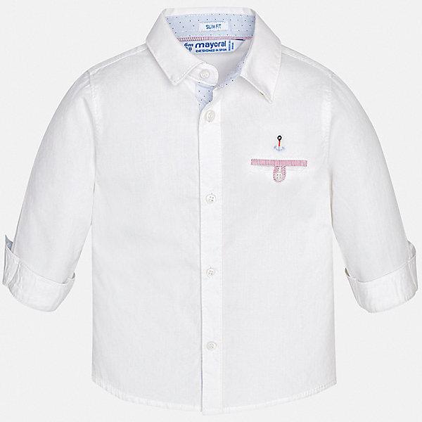 Рубашка Mayoral для мальчикаБлузки и рубашки<br>Характеристики товара:<br><br>• цвет: белый<br>• состав ткани: 100% хлопок<br>• сезон: круглый год<br>• особенности модели: нарядная<br>• застежка: пуговицы<br>• длинные рукава<br>• страна бренда: Испания<br>• стиль и качество<br><br>Белая детская рубашка сделана из дышащего приятного на ощупь материала. Благодаря продуманному крою детской рубашки создаются комфортные условия для тела. Рубашка с длинным рукавом для мальчика отличается лаконичным продуманным дизайном, она украшена небольшой вышивкой.<br><br>Рубашку Mayoral (Майорал) для мальчика можно купить в нашем интернет-магазине.<br>Ширина мм: 174; Глубина мм: 10; Высота мм: 169; Вес г: 157; Цвет: белый; Возраст от месяцев: 6; Возраст до месяцев: 9; Пол: Мужской; Возраст: Детский; Размер: 74,98,92,86,80; SKU: 7538126;