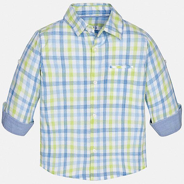 Рубашка Mayoral для мальчикаБлузки и рубашки<br>Характеристики товара:<br><br>• цвет: голубой<br>• состав ткани: 100% хлопок<br>• сезон: круглый год<br>• застежка: пуговицы<br>• длинные рукава<br>• страна бренда: Испания<br>• стиль и качество<br><br>Клетчатая рубашка с длинным рукавом для мальчика Mayoral идеально подходит для ежедневного ношения. Стильная детская рубашка сделана из натуральной хлопковой ткани. Детская рубашка сшита из приятного на ощупь материала, который позволяет коже дышать. <br><br>Рубашку Mayoral (Майорал) для мальчика можно купить в нашем интернет-магазине.<br>Ширина мм: 174; Глубина мм: 10; Высота мм: 169; Вес г: 157; Цвет: зеленый; Возраст от месяцев: 12; Возраст до месяцев: 15; Пол: Мужской; Возраст: Детский; Размер: 80,98,92,86; SKU: 7538132;