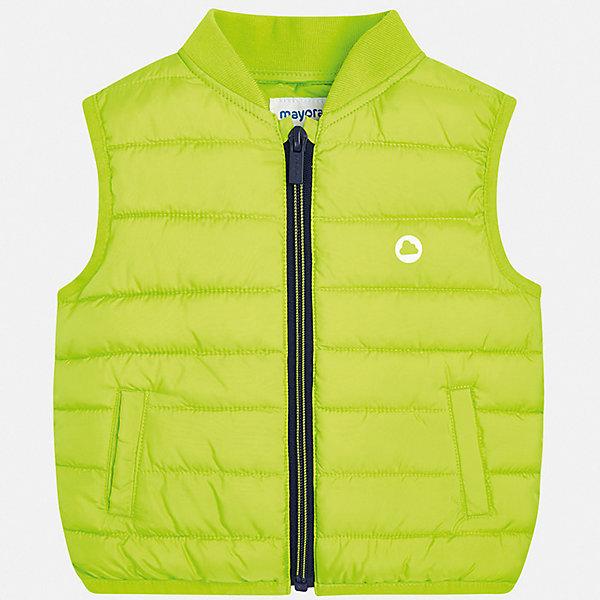 Жилет Mayoral для мальчикаЖилеты<br>Характеристики товара:<br><br>• цвет: зеленый<br>• состав ткани: 100% полиэстер<br>• подкладка: 100% полиэстер<br>• утеплитель: 100% полиэстер<br>• сезон: демисезон<br>• особенности модели: спортивный стиль<br>• застежка: молния<br>• страна бренда: Испания<br>• стиль и качество<br><br>Этот теплый жилет для мальчика от Майорал поможет обеспечить ребенку комфорт и тепло. Детский жилет отличается модным и продуманным дизайном. С помощью жилета для мальчика от испанской компании Майорал можно создать оригинальный наряд. <br><br>Жилет Mayoral (Майорал) для мальчика можно купить в нашем интернет-магазине.<br>Ширина мм: 190; Глубина мм: 74; Высота мм: 229; Вес г: 236; Цвет: зеленый; Возраст от месяцев: 12; Возраст до месяцев: 18; Пол: Мужской; Возраст: Детский; Размер: 86,98,92; SKU: 7538254;