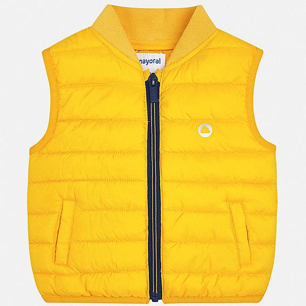 Жилет Mayoral для мальчикаВерхняя одежда<br>Характеристики товара:<br><br>• цвет: желтый<br>• состав ткани: 100% полиэстер<br>• подкладка: 100% полиэстер<br>• утеплитель: 100% полиэстер<br>• сезон: демисезон<br>• особенности модели: спортивный стиль<br>• застежка: молния<br>• страна бренда: Испания<br>• стиль и качество<br><br>Яркий детский жилет сделан из качественного материала. Благодаря продуманному крою детского жилета создаются комфортные условия для тела. Жилет для мальчика отличается стильным дизайном.<br><br>Жилет Mayoral (Майорал) для мальчика можно купить в нашем интернет-магазине.<br>Ширина мм: 190; Глубина мм: 74; Высота мм: 229; Вес г: 236; Цвет: желтый; Возраст от месяцев: 12; Возраст до месяцев: 18; Пол: Мужской; Возраст: Детский; Размер: 86,98,92; SKU: 7538258;