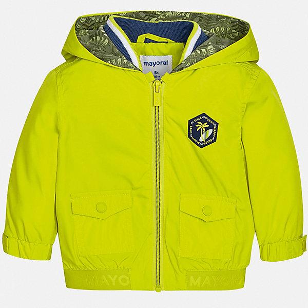 Куртка Mayoral для мальчикаВетровки и жакеты<br>Характеристики товара:<br><br>• цвет: желтый<br>• состав ткани: 100% полиэстер<br>• подкладка: 60% хлопок, 40% полиэстер<br>• утеплитель: нет<br>• сезон: демисезон<br>• температурный режим: от +5 до +20<br>• особенности куртки: с капюшоном<br>• застежка: молния<br>• страна бренда: Испания<br>• стиль и качество<br><br>Легкая демисезонная куртка для мальчика от Майорал поможет обеспечить ребенку комфорт и тепло. Детская куртка с капюшоном отличается модным и продуманным дизайном. В куртке для мальчика от испанской компании Майорал ребенок будет выглядеть модно, а чувствовать себя - комфортно. <br><br>Куртку Mayoral (Майорал) для мальчика можно купить в нашем интернет-магазине.<br>Ширина мм: 356; Глубина мм: 10; Высота мм: 245; Вес г: 519; Цвет: зеленый; Возраст от месяцев: 12; Возраст до месяцев: 15; Пол: Мужской; Возраст: Детский; Размер: 80,98,92,86; SKU: 7538306;