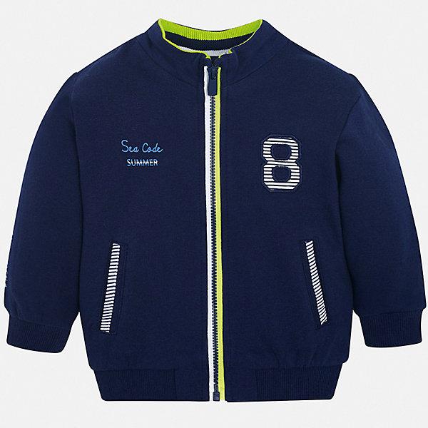 Куртка Mayoral для мальчикаВерхняя одежда<br>Характеристики товара:<br><br>• цвет: синий<br>• состав ткани: 100% хлопок<br>• утеплитель: нет<br>• сезон: демисезон<br>• температурный режим: от +5 до +20<br>• особенности куртки: без капюшона<br>• застежка: молния<br>• страна бренда: Испания<br>• стиль и качество<br><br>Куртка-бомбер для мальчика от Майорал поможет обеспечить ребенку комфорт и тепло. Детская куртка отличается модным и продуманным дизайном. В куртке для мальчика от испанской компании Майорал ребенок будет выглядеть модно, а чувствовать себя - комфортно. <br><br>Куртку Mayoral (Майорал) для мальчика можно купить в нашем интернет-магазине.<br>Ширина мм: 356; Глубина мм: 10; Высота мм: 245; Вес г: 519; Цвет: синий; Возраст от месяцев: 6; Возраст до месяцев: 9; Пол: Мужской; Возраст: Детский; Размер: 74,98,92,86,80; SKU: 7538339;