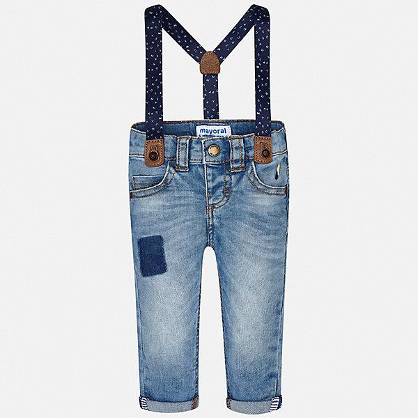 Брюки Mayoral для мальчикаБрюки<br>Характеристики товара:<br><br>• цвет: синий<br>• комплектация: брюки, подтяжки<br>• состав ткани: 98% хлопок, 2% эластан<br>• сезон: демисезон<br>• шлевки<br>• регулируемая талия<br>• застежка: кнопка<br>• страна бренда: Испания<br>• стиль и качество<br><br>Джинсы прямого силуэта с подтяжками в комплекте сшиты из дышащего приятного на ощупь материала. Благодаря преобладанию в его составе натурального хлопка материал детских брюк создает комфортные условия для тела. Эти джинсы для мальчика отличаются стильным дизайном.<br><br>Джинсы Mayoral (Майорал) для мальчика можно купить в нашем интернет-магазине.<br>Ширина мм: 215; Глубина мм: 88; Высота мм: 191; Вес г: 336; Цвет: белый; Возраст от месяцев: 6; Возраст до месяцев: 9; Пол: Мужской; Возраст: Детский; Размер: 74,98,92,86,80; SKU: 7538475;