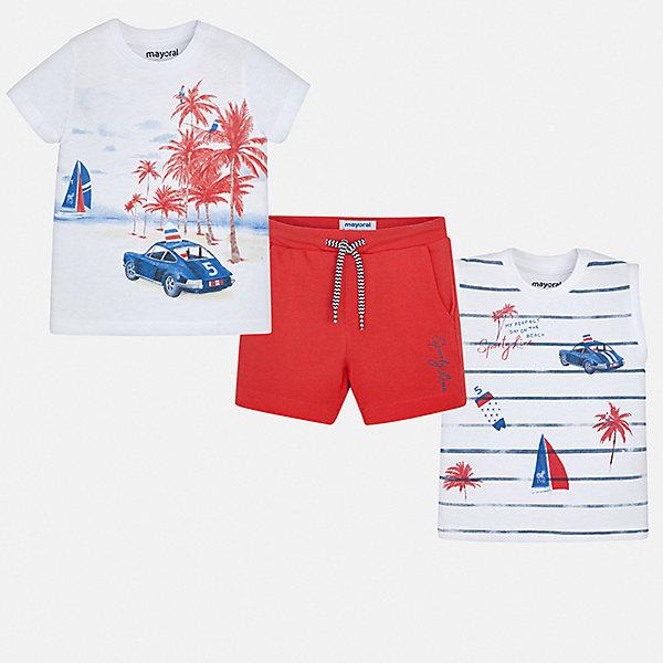 Комплект:2 футболки,шорты Mayoral для мальчикаКомплекты<br>Характеристики товара:<br><br>• цвет: белый, красный<br>• комплектация: шорты, футболка, майка<br>• состав ткани: 100% хлопок<br>• сезон: лето<br>• особенности модели: спортивный стиль<br>• пояс: резинка, шнурок<br>• короткие рукава<br>• страна бренда: Испания<br>• стиль и качество<br><br>Футболка, майка и шорты для мальчика от Майорал помогут обеспечить ребенку комфорт в жаркое время года. В этом детском комплекте - сразу три стильные вещи. В футболке, майке и шортах для мальчика от испанской компании Майорал ребенок будет выглядеть модно, а чувствовать себя - удобно. <br><br>Комплект: шорты, футболка, майка Mayoral (Майорал) для мальчика можно купить в нашем интернет-магазине.<br>Ширина мм: 157; Глубина мм: 13; Высота мм: 119; Вес г: 200; Цвет: бордовый; Возраст от месяцев: 6; Возраст до месяцев: 9; Пол: Мужской; Возраст: Детский; Размер: 74,98,92,86,80; SKU: 7538574;