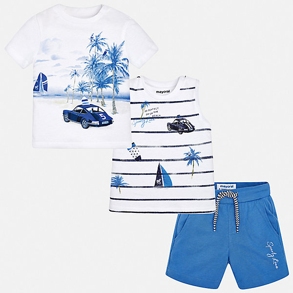 Комплект: 2 футболки и шорты Mayoral для мальчикаКомплекты<br>Характеристики товара:<br><br>• цвет: белый<br>• комплектация: шорты, футболка, майка<br>• состав ткани: 100% хлопок<br>• сезон: лето<br>• особенности модели: спортивный стиль<br>• пояс: резинка, шнурок<br>• короткие рукава<br>• страна бренда: Испания<br>• стиль и качество<br><br>Симпатичный комплект - футболка с принтом, майка и шорты для мальчика от Майорал - отлично сочетается между собой, а также с другими вещами. В этом детском наборе - сразу три модные вещи. В футболке, майке и шортах для мальчика от испанской компании Майорал ребенок будет выглядеть модно, а чувствовать себя - удобно. <br><br>Комплект: шорты, футболка, майка Mayoral (Майорал) для мальчика можно купить в нашем интернет-магазине.<br>Ширина мм: 157; Глубина мм: 13; Высота мм: 119; Вес г: 200; Цвет: синий; Возраст от месяцев: 12; Возраст до месяцев: 15; Пол: Мужской; Возраст: Детский; Размер: 80,74,98,92,86; SKU: 7538580;