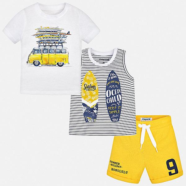 Mayoral Комплект: 2 футболки и шорты Mayoral для мальчика комплект футболки шорты свiтанак комплект футболки шорты