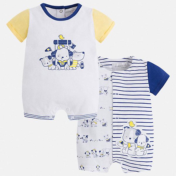 Комплект:2 полукомбинезона Mayoral для мальчикаКомплекты для новорожденных<br>Характеристики товара:<br><br>• цвет: белый<br>• комплектация: 2 шт.<br>• состав ткани: 96% хлопок, 4% эластан<br>• сезон: круглый год<br>• застежка: кнопки<br>• короткие рукава<br>• страна бренда: Испания<br>• стиль и качество<br><br>Каждый полукомбинезон для мальчика отличается оригинальным дизайном. Детские полукомбинезоны сшиты из мягкого приятного на ощупь материала. Все швы каждого полукомбинезона для мальчика качественно обработаны. Благодаря продуманному крою детский полукомбинезон создает комфортные условия для малыша. <br><br>Комплект: 2 полукомбинезона Mayoral (Майорал) можно купить в нашем интернет-магазине.<br>Ширина мм: 215; Глубина мм: 88; Высота мм: 191; Вес г: 336; Цвет: желтый; Возраст от месяцев: 2; Возраст до месяцев: 5; Пол: Мужской; Возраст: Детский; Размер: 62,80,74,68; SKU: 7538828;