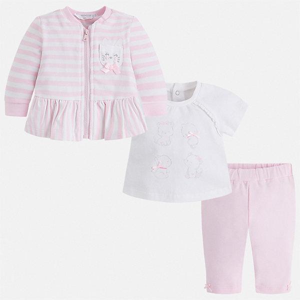 Комплект Mayoral для девочкиКомплекты<br>Характеристики товара:<br><br>• цвет: розовый<br>• комплектация: леггинсы, футболка, толстовка<br>• состав ткани: 95% хлопок, 5% эластан<br>• сезон: демисезон<br>• застежка: молния, кнопки<br>• пояс: резинка, шнурок<br>• короткие рукава<br>• страна бренда: Испания<br>• стиль и качество<br><br>Хлопковые леггинсы, футболка и толстовка для ребенка от Майорал - отличный комплект для создания различных нарядов. В этом детском комплекте - сразу три качественные и модные вещи. В футболке, леггинсах и толстовке для ребенка от испанской компании Майорал ребенок будет чувствовать себя удобно благодаря высокому качеству материала и швов. <br><br>Комплект: леггинсы, футболка, толстовка Mayoral (Майорал) можно купить в нашем интернет-магазине.<br>Ширина мм: 247; Глубина мм: 16; Высота мм: 140; Вес г: 225; Цвет: розовый; Возраст от месяцев: 2; Возраст до месяцев: 5; Пол: Женский; Возраст: Детский; Размер: 62,80,74,68; SKU: 7538859;