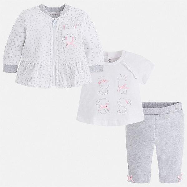 Фото #1: Комплект: толстовка, футболка и леггинсы Mayoral для девочки