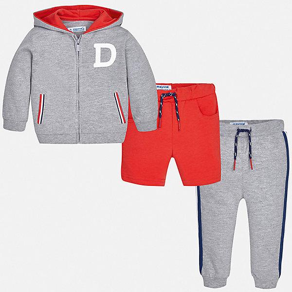 Спортивный костюм Mayoral для мальчикаСпортивная одежда<br>Характеристики товара:<br><br>• цвет: серый<br>• комплектация: шорты, толстовка, брюки<br>• состав ткани: 67% хлопок, 29% полиэстер, 4% эластан<br>• сезон: круглый год<br>• особенности модели: спортивный стиль<br>• застежка: молния<br>• пояс: резинка, шнурок<br>• длинные рукава<br>• страна бренда: Испания<br>• стиль и качество<br><br>В этом детском спортивном костюме - сразу три удобные вещи. Спортивный костюм - шорты, толстовка и брюки для мальчика от Майорал - отлично сочетается между собой, а также с другими вещами. В спортивном костюме для мальчика от испанской компании Майорал ребенок будет выглядеть модно, а чувствовать себя - удобно. <br><br>Спортивный костюм Mayoral (Майорал) для мальчика можно купить в нашем интернет-магазине.<br>Ширина мм: 247; Глубина мм: 16; Высота мм: 140; Вес г: 225; Цвет: бордовый; Возраст от месяцев: 6; Возраст до месяцев: 9; Пол: Мужской; Возраст: Детский; Размер: 74,98,92,86,80; SKU: 7538887;