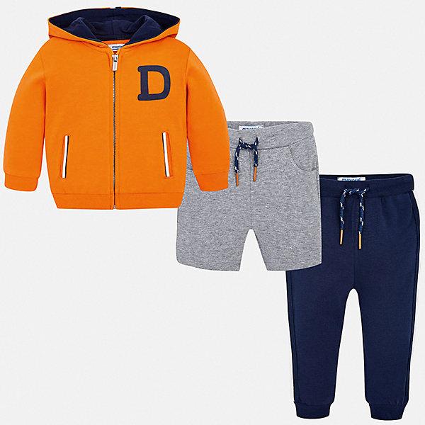 Спортивный костюм Mayoral для мальчикаКомплекты<br>Характеристики товара:<br><br>• цвет: оранжевый<br>• комплектация: шорты, толстовка, брюки<br>• состав ткани: 67% хлопок, 29% полиэстер, 4% эластан<br>• сезон: круглый год<br>• особенности модели: спортивный стиль<br>• застежка: молния<br>• пояс: резинка, шнурок<br>• длинные рукава<br>• страна бренда: Испания<br>• стиль и качество<br><br>Такие шорты, толстовка и брюки для ребенка от Майорал - отличный комплект для занятия спортом. В этом детском спортивном костюме - сразу три качественные и модные вещи. В спортивном костюме для ребенка от испанской компании Майорал ребенок будет чувствовать себя удобно благодаря высокому качеству материала и швов. <br><br>Спортивный костюм Mayoral (Майорал) для мальчика можно купить в нашем интернет-магазине.<br>Ширина мм: 247; Глубина мм: 16; Высота мм: 140; Вес г: 225; Цвет: оранжевый; Возраст от месяцев: 6; Возраст до месяцев: 9; Пол: Мужской; Возраст: Детский; Размер: 74,98,92,86,80; SKU: 7538899;
