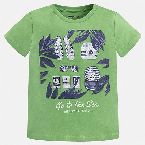 Футболка Mayoral для мальчикаФутболки, поло и топы<br>Характеристики товара:<br><br>• цвет: зеленый<br>• состав ткани: 100% хлопок<br>• сезон: лето<br>• короткие рукава<br>• страна бренда: Испания<br>• стиль и качество<br><br>Хлопковая детская футболка сделана из натуральной трикотажной ткани, которая обеспечивает ребенку комфорт. Детская футболка поможет создать модный и удобный наряд для ребенка. Модная футболка для мальчика от Mayoral удобно сидит по фигуре. <br><br>Футболку Mayoral (Майорал) для мальчика можно купить в нашем интернет-магазине.<br>Ширина мм: 199; Глубина мм: 10; Высота мм: 161; Вес г: 151; Цвет: зеленый; Возраст от месяцев: 18; Возраст до месяцев: 24; Пол: Мужской; Возраст: Детский; Размер: 92,134,128,122,116,110,104,98; SKU: 7539073;