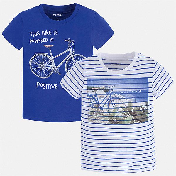Комплект:2 футболки Mayoral для мальчикаФутболки, поло и топы<br>Характеристики товара:<br><br>• цвет: синий<br>• комплектация: 2 шт<br>• состав ткани: 100% хлопок<br>• сезон: лето<br>• короткие рукава<br>• страна бренда: Испания<br>• стиль и качество<br><br>В таком комплекте - сразу две удобных детских футболки. В футболке для мальчика от испанской компании Майорал ребенок будет выглядеть модно, а чувствовать себя - удобно. Трикотажная футболка с принтом для мальчика от Майорал поможет обеспечить ребенку комфорт. <br><br>Комплект: 2 футболки Mayoral (Майорал) для мальчика можно купить в нашем интернет-магазине.<br>Ширина мм: 199; Глубина мм: 10; Высота мм: 161; Вес г: 151; Цвет: синий; Возраст от месяцев: 72; Возраст до месяцев: 84; Пол: Мужской; Возраст: Детский; Размер: 122,128,116,110,104,98,92,134; SKU: 7539154;