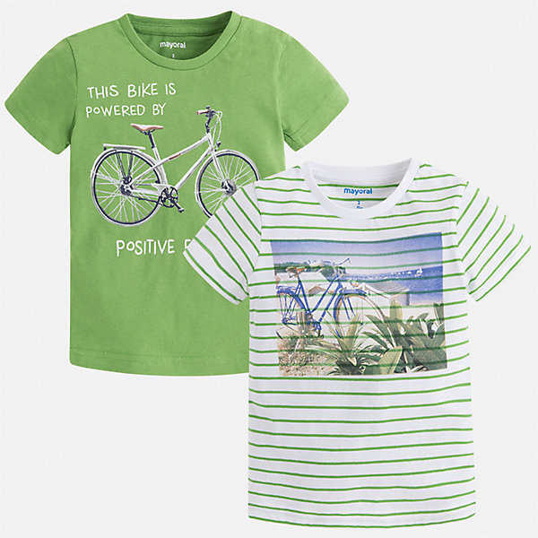 Комплект:2 футболки Mayoral для мальчикаФутболки, поло и топы<br>Характеристики товара:<br><br>• цвет: зеленый<br>• комплектация: 2 шт<br>• состав ткани: 100% хлопок<br>• сезон: лето<br>• короткие рукава<br>• страна бренда: Испания<br>• стиль и качество<br><br>Каждая детская футболка из такого комплекта сделана из натуральной дышащей и антиаллергенной хлопковой ткани. Такая детская футболка поможет создать стильный и комфортный наряд для ребенка. Хлопковая футболка с принтом для мальчика от Mayoral - отличная базовая вещь для детского гардероба. <br><br>Комплект: 2 футболки Mayoral (Майорал) для мальчика можно купить в нашем интернет-магазине.<br>Ширина мм: 199; Глубина мм: 10; Высота мм: 161; Вес г: 151; Цвет: зеленый; Возраст от месяцев: 18; Возраст до месяцев: 24; Пол: Мужской; Возраст: Детский; Размер: 92,134,128,122,116,110,104,98; SKU: 7539172;