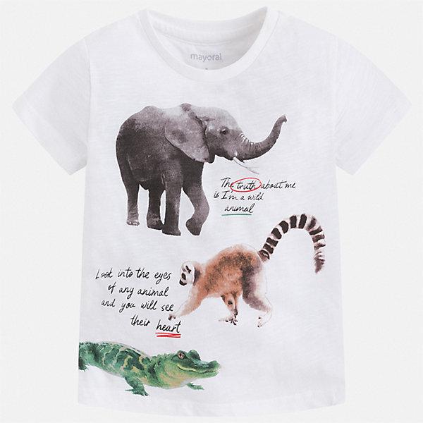 Футболка Mayoral для мальчикаФутболки, поло и топы<br>Характеристики товара:<br><br>• цвет: белый<br>• состав ткани: 100% хлопок<br>• сезон: лето<br>• короткие рукава<br>• страна бренда: Испания<br>• стиль и качество<br><br>Хлопковая детская футболка сделана из натуральной трикотажной ткани, которая обеспечивает ребенку комфорт. Детская футболка поможет создать модный и удобный наряд для ребенка. Модная футболка для мальчика от Mayoral удобно сидит по фигуре. <br><br>Футболку Mayoral (Майорал) для мальчика можно купить в нашем интернет-магазине.<br>Ширина мм: 199; Глубина мм: 10; Высота мм: 161; Вес г: 151; Цвет: белый; Возраст от месяцев: 24; Возраст до месяцев: 36; Пол: Мужской; Возраст: Детский; Размер: 98,92,134,128,122,116,110,104; SKU: 7539220;