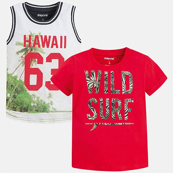 Комплект:футболка,майка Mayoral для мальчикаКомплекты<br>Характеристики товара:<br><br>• цвет: белый, красный<br>• комплектация: футболка, майка<br>• состав ткани: 100% хлопок<br>• сезон: лето<br>• особенности модели: спортивный стиль<br>• короткие рукава<br>• страна бренда: Испания<br>• стиль и качество<br><br>Футболка и майка для мальчика от Майорал помогут обеспечить ребенку комфорт в жаркое время года. В этом детском комплекте - сразу две стильные вещи. В футболке или майке для мальчика от испанской компании Майорал ребенок будет выглядеть модно, а чувствовать себя - удобно. <br><br>Комплект: футболка, майка Mayoral (Майорал) для мальчика можно купить в нашем интернет-магазине.<br>Ширина мм: 199; Глубина мм: 10; Высота мм: 161; Вес г: 151; Цвет: бордовый; Возраст от месяцев: 36; Возраст до месяцев: 48; Пол: Мужской; Возраст: Детский; Размер: 104,134,128,122,116,110; SKU: 7539256;