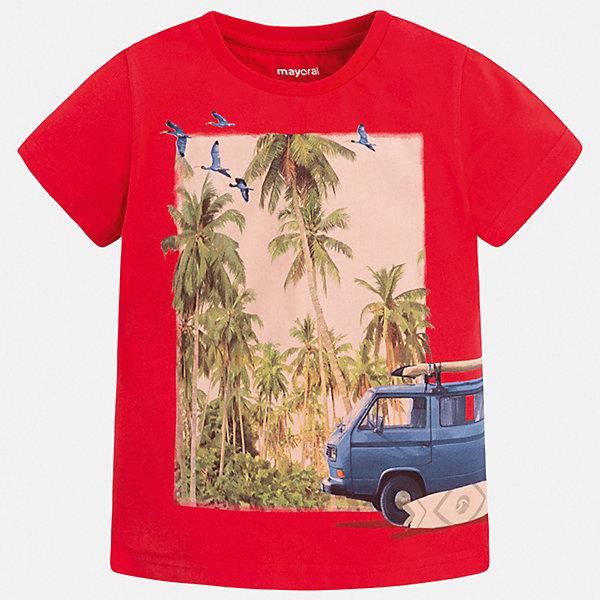 Футболка Mayoral для мальчикаФутболки, поло и топы<br>Характеристики товара:<br><br>• цвет: красный<br>• состав ткани: 100% хлопок<br>• сезон: лето<br>• короткие рукава<br>• страна бренда: Испания<br>• стиль и качество<br><br>Яркая и комфортная детская футболка с коротким рукавом украшена эффектным принтом от ведущих дизайнеров испанского бренда Mayoral. Края детской футболки обработаны мягкими швами. Такая футболка для мальчика отличается модным дизайном.<br><br>Футболку Mayoral (Майорал) для мальчика можно купить в нашем интернет-магазине.<br>Ширина мм: 199; Глубина мм: 10; Высота мм: 161; Вес г: 151; Цвет: бордовый; Возраст от месяцев: 18; Возраст до месяцев: 24; Пол: Мужской; Возраст: Детский; Размер: 92,134,128,122,116,110,104,98; SKU: 7539315;