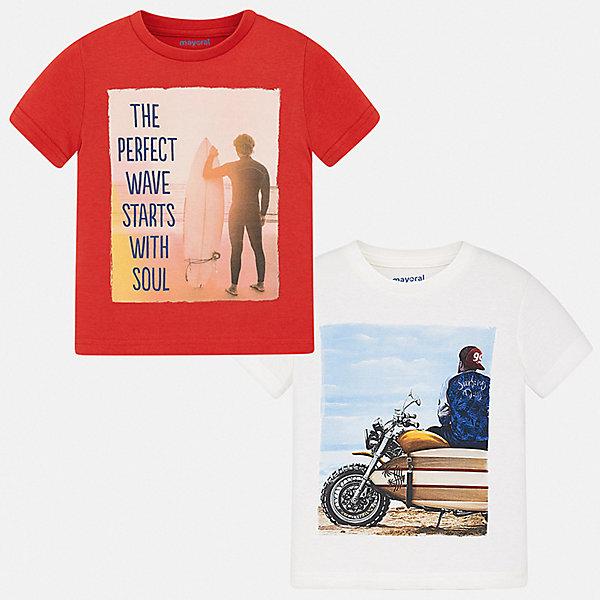 Комплект:2 футболки Mayoral для мальчикаКомплекты<br>Характеристики товара:<br><br>• цвет: красный, белый<br>• комплектация: 2 шт<br>• состав ткани: 100% хлопок<br>• сезон: лето<br>• короткие рукава<br>• страна бренда: Испания<br>• стиль и качество<br><br>В этом комплект для ребенка - сразу две удобных детских футболки. В футболке для мальчика от испанской компании Майорал ребенок будет выглядеть модно, а чувствовать себя - удобно. Трикотажная футболка с принтом для мальчика от Майорал поможет обеспечить ребенку комфорт. <br><br>Комплект: 2 футболки Mayoral (Майорал) для мальчика можно купить в нашем интернет-магазине.<br>Ширина мм: 199; Глубина мм: 10; Высота мм: 161; Вес г: 151; Цвет: красный; Возраст от месяцев: 36; Возраст до месяцев: 48; Пол: Мужской; Возраст: Детский; Размер: 104,134,128,122,116,110; SKU: 7539356;