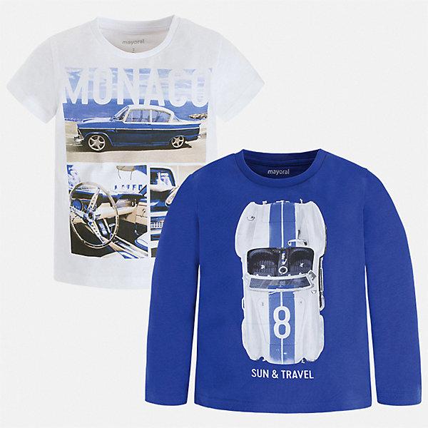 Купить Комплект: футболка с длинным рукавом и футболка Mayoral для мальчика, Бангладеш, синий, Мужской
