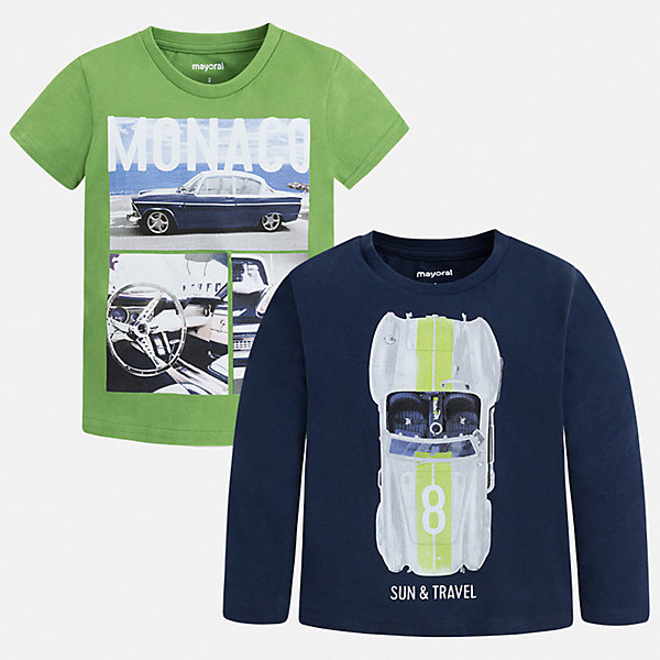 Комплект: футболка с длинным рукавом и футболка Mayoral для мальчика, Бангладеш, синий, Мужской  - купить со скидкой