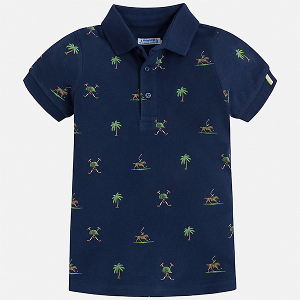 Рубашка-поло Mayoral для мальчикаФутболки, поло и топы<br>Характеристики товара:<br><br>• цвет: синий<br>• состав ткани: 100% хлопок<br>• сезон: лето<br>• особенности модели: отложной воротник<br>• застежка: пуговицы<br>• короткие рукава<br>• страна бренда: Испания<br>• стиль и качество <br><br>Принтованная футболка-поло для мальчика от Майорал поможет создать множество удачных комбинаций в одежде. Детская футболка-поло отличается модным дизайном от европейских специалистов. В футболке-поло для мальчика от испанской компании Майорал ребенку обеспечен комфорт и стильный внешний вид. <br><br>Футболку-поло Mayoral (Майорал) для мальчика можно купить в нашем интернет-магазине.<br>Ширина мм: 174; Глубина мм: 10; Высота мм: 169; Вес г: 157; Цвет: синий; Возраст от месяцев: 18; Возраст до месяцев: 24; Пол: Мужской; Возраст: Детский; Размер: 92,134,128,122,116,110,104,98; SKU: 7539653;