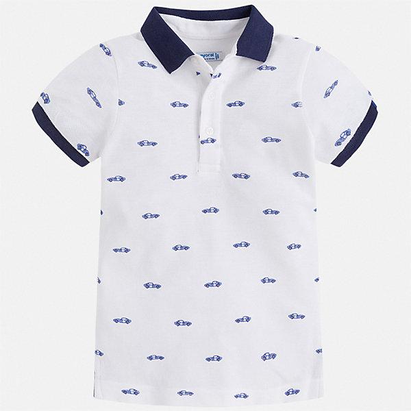 Рубашка-поло Mayoral для мальчикаФутболки, поло и топы<br>Характеристики товара:<br><br>• цвет: белый<br>• состав ткани: 100% хлопок<br>• сезон: лето<br>• особенности модели: отложной воротник<br>• застежка: пуговицы<br>• короткие рукава<br>• страна бренда: Испания<br>• стиль и качество<br><br>Такая детская футболка-поло с коротким рукавом сшита из натурального хлопкового трикотажа. Благодаря продуманному крою детской футболки-поло создаются комфортные условия для тела. Модная футболка-поло для мальчика сделана с учетом последних тенденций в молодежной моде.<br><br>Футболку-поло Mayoral (Майорал) для мальчика можно купить в нашем интернет-магазине.<br>Ширина мм: 174; Глубина мм: 10; Высота мм: 169; Вес г: 157; Цвет: белый; Возраст от месяцев: 18; Возраст до месяцев: 24; Пол: Мужской; Возраст: Детский; Размер: 92,134,128,122,116,110,104,98; SKU: 7539662;