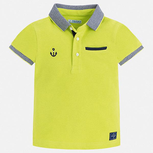 Рубашка-поло Mayoral для мальчикаФутболки, поло и топы<br>Характеристики товара:<br><br>• цвет: зеленый<br>• состав ткани: 100% хлопок<br>• сезон: лето<br>• особенности модели: отложной воротник<br>• застежка: пуговицы<br>• короткие рукава<br>• страна бренда: Испания<br>• стиль и качество<br><br>Стильная футболка-поло для мальчика сделана с учетом последних тенденций в молодежной моде. Такая детская футболка-поло с коротким рукавом сшита из натурального хлопкового трикотажа. Благодаря продуманному крою детской футболки-поло создаются комфортные условия для тела. <br><br>Футболку-поло Mayoral (Майорал) для мальчика можно купить в нашем интернет-магазине.<br>Ширина мм: 174; Глубина мм: 10; Высота мм: 169; Вес г: 157; Цвет: зеленый; Возраст от месяцев: 36; Возраст до месяцев: 48; Пол: Мужской; Возраст: Детский; Размер: 104,110,98,92,134,128,122,116; SKU: 7539689;