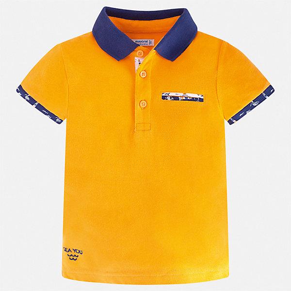 Рубашка-поло Mayoral для мальчикаФутболки, поло и топы<br>Характеристики товара:<br><br>• цвет: мульти<br>• состав ткани: 100% хлопок<br>• сезон: лето<br>• особенности модели: отложной воротник<br>• застежка: пуговицы<br>• короткие рукава<br>• страна бренда: Испания<br>• стиль и качество <br><br>Стильная футболка-поло для мальчика от Майорал поможет стать основой множества удачных комбинаций в одежде. Детская футболка-поло отличается модным дизайном от европейских специалистов. В футболке-поло для мальчика от испанской компании Майорал ребенку обеспечен комфорт и стильный внешний вид. <br><br>Футболку-поло Mayoral (Майорал) для мальчика можно купить в нашем интернет-магазине.<br>Ширина мм: 174; Глубина мм: 10; Высота мм: 169; Вес г: 157; Цвет: желтый; Возраст от месяцев: 18; Возраст до месяцев: 24; Пол: Мужской; Возраст: Детский; Размер: 92,134,128,122,116,110,104,98; SKU: 7539734;