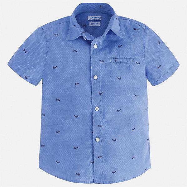 Рубашка Mayoral для мальчикаБлузки и рубашки<br>Характеристики товара:<br><br>• цвет: мульти<br>• состав ткани: 100% хлопок<br>• сезон: лето<br>• застежка: пуговицы<br>• короткие рукава<br>• страна бренда: Испания<br>• стиль и качество<br><br>Эта хлопковая рубашка для мальчика от Майорал поможет создать стильный и удобный наряд. Детская рубашка отличается модным и продуманным дизайном. В рубашке для мальчика от испанской компании Майорал ребенок будет выглядеть оригинально и аккуратно. <br><br>Рубашку Mayoral (Майорал) для мальчика можно купить в нашем интернет-магазине.<br>Ширина мм: 174; Глубина мм: 10; Высота мм: 169; Вес г: 157; Цвет: голубой; Возраст от месяцев: 18; Возраст до месяцев: 24; Пол: Мужской; Возраст: Детский; Размер: 92,134,128,122,116,110,104,98; SKU: 7539971;