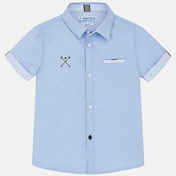 Рубашка Mayoral для мальчикаБлузки и рубашки<br>Характеристики товара:<br><br>• цвет: голубой<br>• состав ткани: 73% хлопок, 24% полиамид, 3% эластан<br>• сезон: лето<br>• застежка: пуговицы<br>• короткие рукава<br>• страна бренда: Испания<br>• стиль и качество<br><br>Отличный способ обеспечить ребенку комфорт и аккуратный внешний вид - надеть детскую рубашку от Mayoral. Легкая рубашка с коротким рукавом для мальчика Mayoral удобно сидит по фигуре. Детская рубашка с коротким рукавом сшита из приятного на ощупь материала, который позволяет коже дышать. <br><br>Рубашку Mayoral (Майорал) для мальчика можно купить в нашем интернет-магазине.<br>Ширина мм: 174; Глубина мм: 10; Высота мм: 169; Вес г: 157; Цвет: голубой; Возраст от месяцев: 72; Возраст до месяцев: 84; Пол: Мужской; Возраст: Детский; Размер: 116,110,104,98,92,134,122,128; SKU: 7539989;