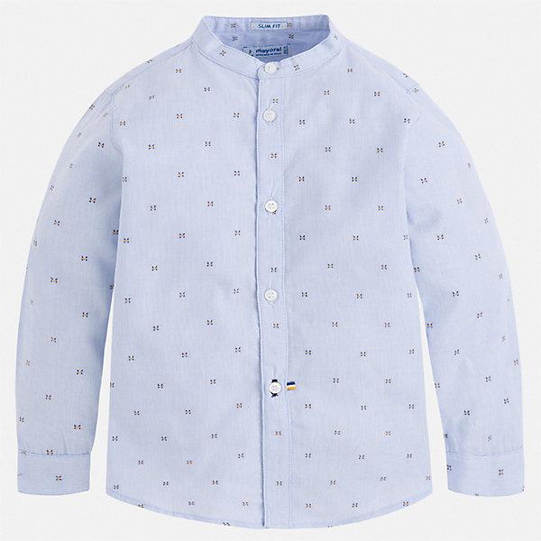 Рубашка Mayoral для мальчикаБлузки и рубашки<br>Характеристики товара:<br><br>• цвет: голубой<br>• состав ткани: 100% хлопок<br>• сезон: круглый год<br>• застежка: пуговицы<br>• длинные рукава<br>• страна бренда: Испания<br>• стиль и качество<br><br>Голубая рубашка для мальчика от Майорал поможет создать стильный и удобный наряд в любое время года. Детская рубашка отличается модным и продуманным дизайном. В рубашке для мальчика от испанской компании Майорал ребенок будет выглядеть оригинально и аккуратно. <br><br>Рубашку Mayoral (Майорал) для мальчика можно купить в нашем интернет-магазине.<br>Ширина мм: 174; Глубина мм: 10; Высота мм: 169; Вес г: 157; Цвет: голубой; Возраст от месяцев: 18; Возраст до месяцев: 24; Пол: Мужской; Возраст: Детский; Размер: 92,134,128,122,116,110,104,98; SKU: 7540122;