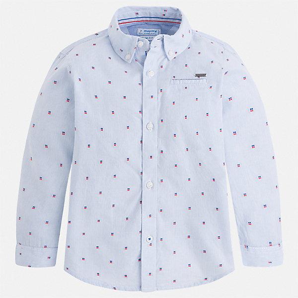 Рубашка Mayoral для мальчикаБлузки и рубашки<br>Характеристики товара:<br><br>• цвет: голубой<br>• состав ткани: 100% хлопок<br>• сезон: круглый год<br>• застежка: пуговицы<br>• длинные рукава<br>• страна бренда: Испания<br>• стиль и качество<br><br>Хлопковая детская рубашка сделана из дышащего приятного на ощупь материала. Благодаря продуманному крою детской рубашки создаются комфортные условия для тела. Рубашка с длинным рукавом для мальчика отличается лаконичным продуманным дизайном.<br><br>Рубашку Mayoral (Майорал) для мальчика можно купить в нашем интернет-магазине.<br>Ширина мм: 174; Глубина мм: 10; Высота мм: 169; Вес г: 157; Цвет: голубой; Возраст от месяцев: 18; Возраст до месяцев: 24; Пол: Мужской; Возраст: Детский; Размер: 92,134,128,122,116,110,104,98; SKU: 7540158;