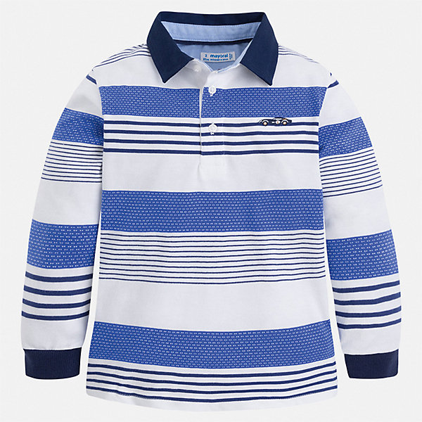 Футболка с длинным рукавом Mayoral для мальчикаФутболки с длинным рукавом<br>Характеристики товара:<br><br>• цвет: синий<br>• состав ткани: 100% хлопок<br>• сезон: демисезон<br>• особенности модели: отложной воротник<br>• застежка: пуговицы<br>• длинные рукава<br>• страна бренда: Испания<br>• стиль и качество<br><br>Эта оригинальная рубашка-поло для мальчика Mayoral удобно сидит по фигуре. Стильная детская рубашка-поло сделана из натуральной хлопковой ткани. Детская рубашка-поло от Mayoral с длинным рукавом сшита из приятного на ощупь материала. <br><br>Рубашку-поло Mayoral (Майорал) для мальчика можно купить в нашем интернет-магазине.<br>Ширина мм: 174; Глубина мм: 10; Высота мм: 169; Вес г: 157; Цвет: синий; Возраст от месяцев: 48; Возраст до месяцев: 60; Пол: Мужской; Возраст: Детский; Размер: 110,104,98,92,134,128,122,116; SKU: 7540203;
