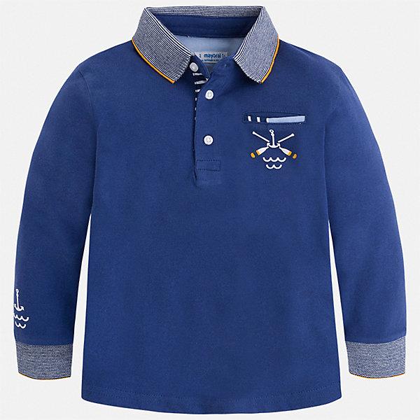 Рубашка-поло Mayoral для мальчикаФутболки с длинным рукавом<br>Характеристики товара:<br><br>• цвет: синий<br>• состав ткани: 100% хлопок<br>• сезон: демисезон<br>• особенности модели: отложной воротник<br>• застежка: пуговицы<br>• длинные рукава<br>• страна бренда: Испания<br>• стиль и качество<br><br>Практичная рубашка-поло с длинным рукавом для мальчика от Mayoral создана европейскими дизайнерами с учетом последних веяний моды. Стильная детская рубашка-поло сделана из натуральной хлопковой ткани. Детская рубашка-поло сшита из хлопкового материала, который позволяет коже дышать. <br><br>Рубашку-поло Mayoral (Майорал) для мальчика можно купить в нашем интернет-магазине.<br>Ширина мм: 174; Глубина мм: 10; Высота мм: 169; Вес г: 157; Цвет: синий; Возраст от месяцев: 18; Возраст до месяцев: 24; Пол: Мужской; Возраст: Детский; Размер: 134,128,122,116,110,104,98,92; SKU: 7540248;