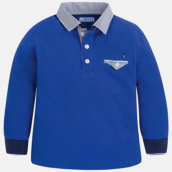 Футболка с длинным рукавом Mayoral для мальчикаФутболки с длинным рукавом<br>Характеристики товара:<br><br>• цвет: синий<br>• состав ткани: 100% хлопок<br>• сезон: демисезон<br>• особенности модели: отложной воротник<br>• застежка: пуговицы<br>• длинные рукава<br>• страна бренда: Испания<br>• стиль и качество<br><br>Хлопковая рубашка-поло для мальчика от Mayoral - удобная и универсальная вещь. Стильная детская рубашка-поло сделана из натуральной хлопковой ткани. Детская рубашка-поло от Mayoral с длинным рукавом сшита из приятного на ощупь материала. <br><br>Рубашку-поло Mayoral (Майорал) для мальчика можно купить в нашем интернет-магазине.<br>Ширина мм: 174; Глубина мм: 10; Высота мм: 169; Вес г: 157; Цвет: синий; Возраст от месяцев: 60; Возраст до месяцев: 72; Пол: Мужской; Возраст: Детский; Размер: 116,110,104,98,92,134,128,122; SKU: 7540284;