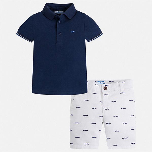 Комплект:шорты,футболка Mayoral для мальчикаКомплекты<br>Характеристики товара:<br><br>• цвет: белый, синий<br>• комплектация: шорты, футболка<br>• состав ткани: 100% хлопок<br>• сезон: лето<br>• шлевки<br>• регулируемая талия<br>• застежка: пуговицы<br>• короткие рукава<br>• страна бренда: Испания<br>• стиль и качество<br><br>Классическая футболка-поло и шорты для мальчика от Майорал помогут обеспечить ребенку комфорт в жаркое время года. В этом детском комплекте - сразу две стильные вещи. В футболке и шортах для мальчика от испанской компании Майорал ребенок будет выглядеть модно, а чувствовать себя - удобно. <br><br>Комплект: шорты, футболка Mayoral (Майорал) для мальчика можно купить в нашем интернет-магазине.<br>Ширина мм: 191; Глубина мм: 10; Высота мм: 175; Вес г: 273; Цвет: синий; Возраст от месяцев: 48; Возраст до месяцев: 60; Пол: Мужской; Возраст: Детский; Размер: 110,104,98,92,134,128,122,116; SKU: 7540642;