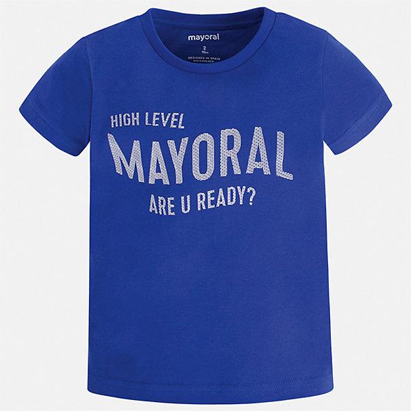 Футболка Mayoral для мальчикаФутболки, поло и топы<br>Характеристики товара:<br><br>• цвет: синий<br>• состав ткани: 100% хлопок<br>• сезон: лето<br>• короткие рукава<br>• страна бренда: Испания<br>• стиль и качество<br><br>Оригинальная детская футболка с коротким рукавом декорирована стильным принтом. Благодаря продуманному крою детской футболки создаются комфортные условия для тела. Эта футболка для мальчика отличается модным дизайном.<br><br>Футболку Mayoral (Майорал) для мальчика можно купить в нашем интернет-магазине.<br>Ширина мм: 199; Глубина мм: 10; Высота мм: 161; Вес г: 151; Цвет: синий; Возраст от месяцев: 18; Возраст до месяцев: 24; Пол: Мужской; Возраст: Детский; Размер: 92,134,128,122,116,110,104,98; SKU: 7541220;