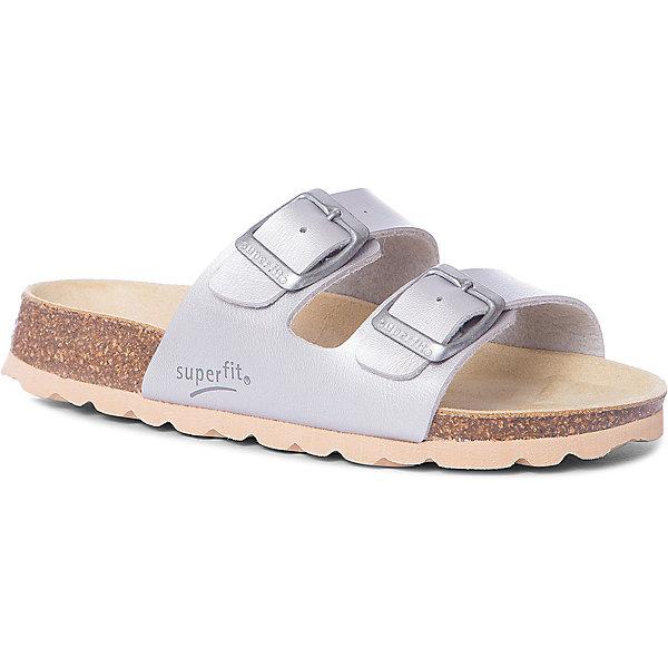 Шлепанцы Superfit для девочкиПляжная обувь<br>Характеристики товара:<br><br>• цвет: светло-розовый<br>• сезон: лето<br>• внешний материал: искуственная кожа, полимер<br>• внутренний материал: текстиль<br>• стелька: натуральная кожа<br>• подошва: пробка, полимер<br>• застежка: пряжки<br>• полнота регулируется застежками<br>• легкая подошва<br>• принт-логотип<br>• устойчивая нескользящая подошва<br>• страна бренда: Австрия<br><br>Стильные анатомические шлепанцы  для девочек известной торговой марки SUPERFIT. Глубокая внутренняя часть обхватывает ступню, а удобные затягивающиеся ремешки крепко фиксируют ногу. Специально разработанные стелька и подошва полностью соответствуют анатомическим особенностям стопы. Стелька изготовлена из натуральной кожи, подошва выполнена из пробки. Модель очень удобна как для дома, так и для улицы.<br><br>Обувь от европейского бренда SUPERFIT уже успели оценить многие потребители. Она удобная и красивая, а особенности конструкции идеальны для детских ножек. Для производства этой обуви используются только безопасные, качественные материалы и фурнитура. Подарите своем у ребенку модную и комфортную обувь от SUPERFIT!<br><br>Шлепанцы для девочки от бренда SUPERFIT (СУПЕРФИТ) можно купить в нашем интернет-магазине.<br>Ширина мм: 219; Глубина мм: 154; Высота мм: 121; Вес г: 343; Цвет: белый; Возраст от месяцев: 24; Возраст до месяцев: 36; Пол: Женский; Возраст: Детский; Размер: 40,39,38,37,36,35,34,33,32,31,30,29,28,27,26; SKU: 7542651;