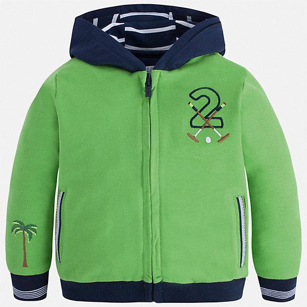 Толстовка Mayoral для мальчикаТолстовки<br>Характеристики товара:<br><br>• цвет: зеленый<br>• состав ткани: 100% хлопок<br>• сезон: демисезон<br>• особенности куртки: с капюшоном, спортивный стиль<br>• застежка: молния<br>• длинные рукава<br>• страна бренда: Испания<br>• неповторимый стиль Mayoral<br><br>Эта комфортная и теплая детская толстовка украшена стильным декором. Рукава и низ детской толстовки дополнены мягкой резинкой. Такая толстовка для мальчика поможет создать модный и удобный наряд.<br><br>Толстовку Mayoral (Майорал) для мальчика можно купить в нашем интернет-магазине.<br>Ширина мм: 356; Глубина мм: 10; Высота мм: 245; Вес г: 519; Цвет: зеленый; Возраст от месяцев: 18; Возраст до месяцев: 24; Пол: Мужской; Возраст: Детский; Размер: 92,134,128,122,116,110,104,98; SKU: 7542896;
