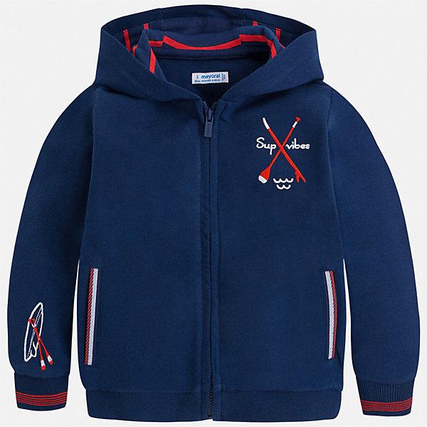 Куртка Mayoral для мальчикаВетровки и жакеты<br>Характеристики товара:<br><br>• цвет: синий<br>• состав ткани: 100% хлопок<br>• сезон: демисезон<br>• особенности куртки: с капюшоном, спортивный стиль<br>• застежка: молния<br>• длинные рукава<br>• страна бренда: Испания<br>• неповторимый стиль Mayoral<br><br>Эффектная детская толстовка сделана из натуральной ткани, которая обеспечивает ребенку комфорт. Детская толстовка поможет создать модный и удобный наряд для ребенка в прохладную погоду. Модная толстовка для мальчика от Mayoral удобно сидит по фигуре и стильно смотрится. <br><br>Толстовку Mayoral (Майорал) для мальчика можно купить в нашем интернет-магазине.<br>Ширина мм: 356; Глубина мм: 10; Высота мм: 245; Вес г: 519; Цвет: синий; Возраст от месяцев: 84; Возраст до месяцев: 96; Пол: Мужской; Возраст: Детский; Размер: 128,122,116,110,104,98,92,134; SKU: 7542905;