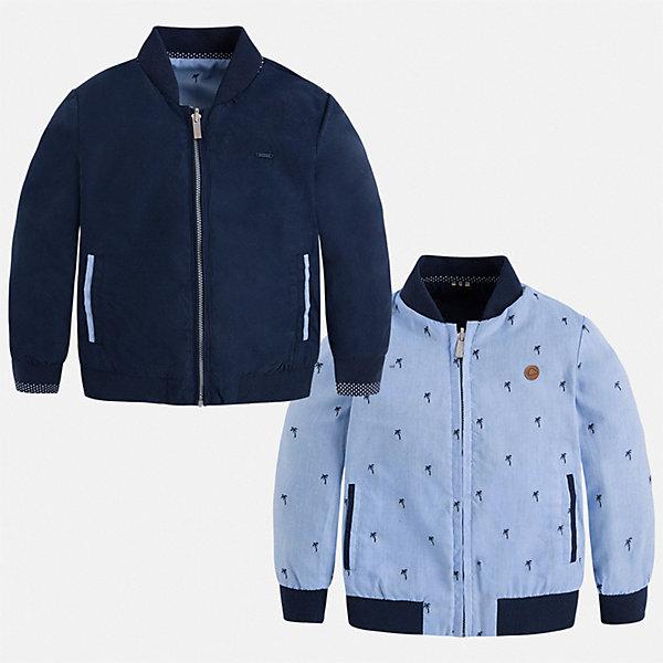 Куртка двусторонняя Mayoral для мальчикаВетровки и жакеты<br>Характеристики товара:<br><br>• цвет: синий<br>• состав ткани: 100% полиэстер<br>• подкладка: 65% полиэстер, 35% хлопок<br>• утеплитель: нет<br>• сезон: демисезон<br>• температурный режим: от +5 до +20<br>• особенности куртки: без капюшона, двусторонняя<br>• застежка: молния<br>• страна бренда: Испания<br>• неповторимый стиль Mayoral<br><br>Такая куртка для мальчика от Майорал - это сразу две модели в одной. Детская куртка отличается модным и продуманным дизайном. В куртке для мальчика от испанской компании Майорал ребенок будет выглядеть модно, а чувствовать себя - комфортно. <br><br>Куртку двустороннюю Mayoral (Майорал) для мальчика можно купить в нашем интернет-магазине.<br>Ширина мм: 356; Глубина мм: 10; Высота мм: 245; Вес г: 519; Цвет: синий; Возраст от месяцев: 36; Возраст до месяцев: 48; Пол: Мужской; Возраст: Детский; Размер: 104,134,128,122,116,110,98,92; SKU: 7543028;